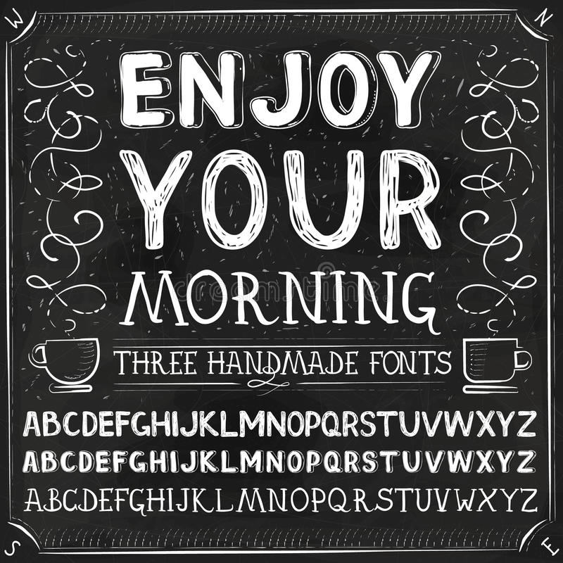 Free Vector Three Hand Drawn Fonts Royalty Free Stock Photography - 52058007