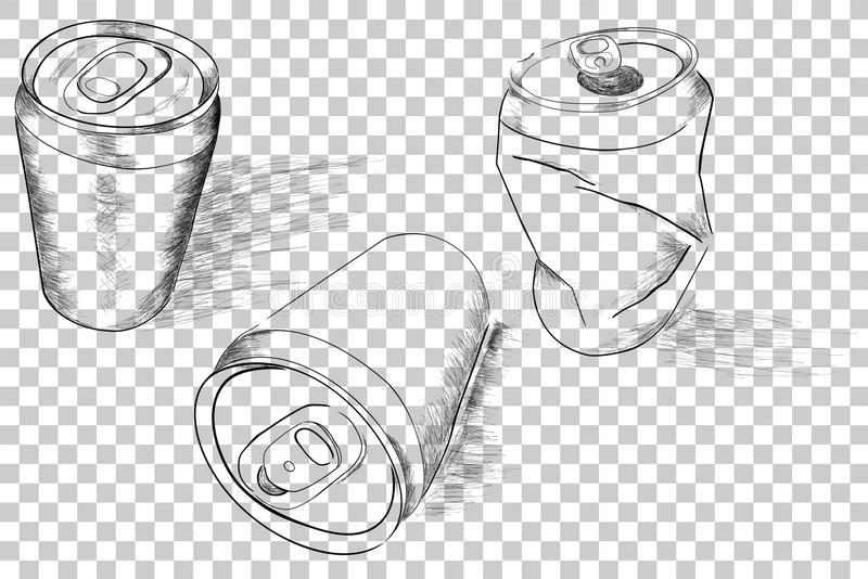Three Perspective of Doodle of Soft Drink Can, with streak shadow, at Transparent Effect Background vector illustration