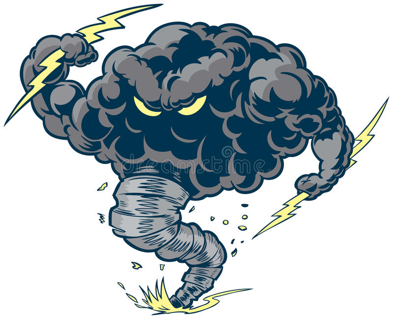Vector Thunder Cloud Storm Tornado Mascot with Lightning Bolts. Vector cartoon clip art illustration of a tough thundercloud or storm cloud mascot with lightning stock illustration