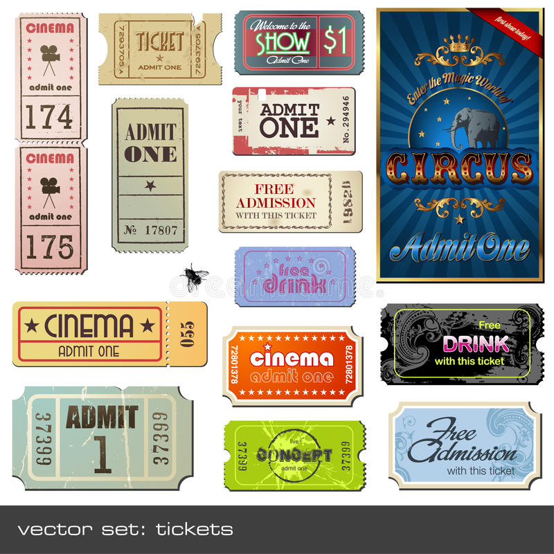 Vector tickets. Vector set of tickets in different styles