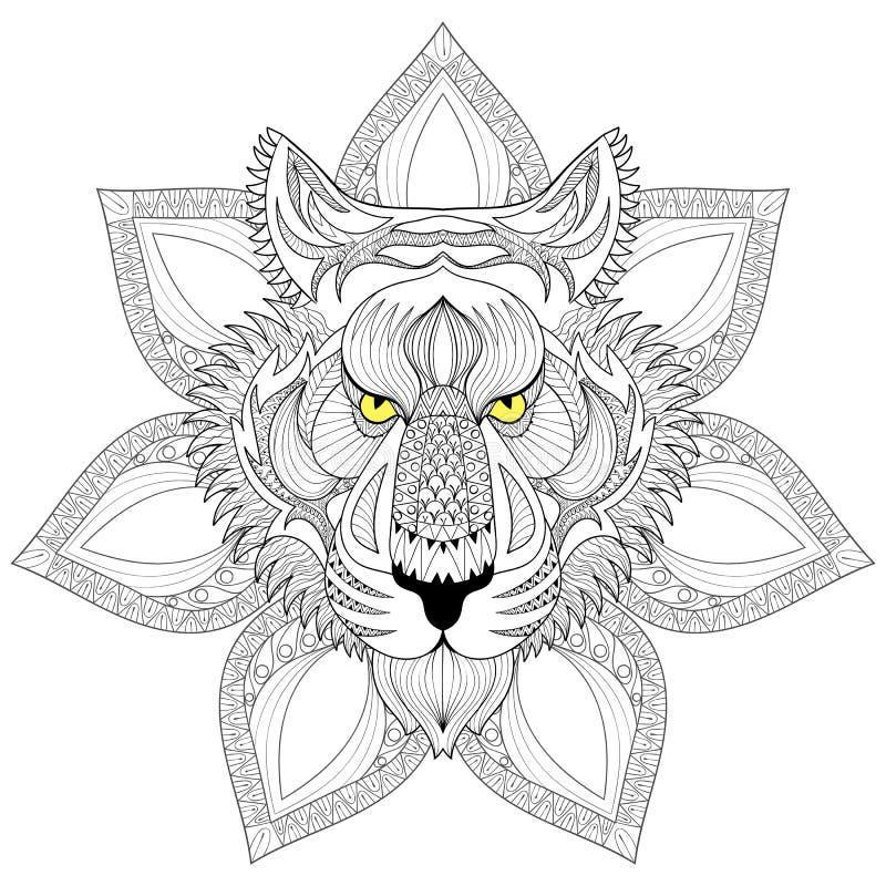 Vector tiger zentangle tiger face on mandala illustration tige stock vector illustration of - Tigre mandala ...