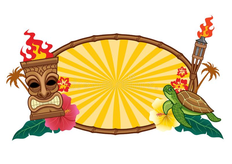 Tiki mask and the frame with text space. Vector of tiki mask and the frame with text space stock illustration