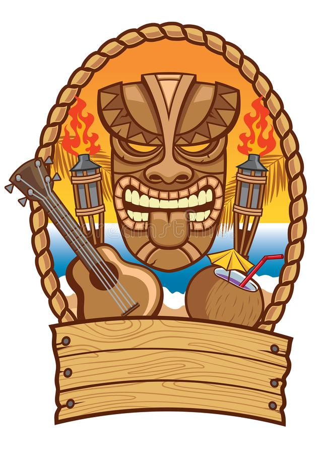 Tiki mask with ukulele and coconut. Vector of tiki mask with ukulele and coconut royalty free illustration