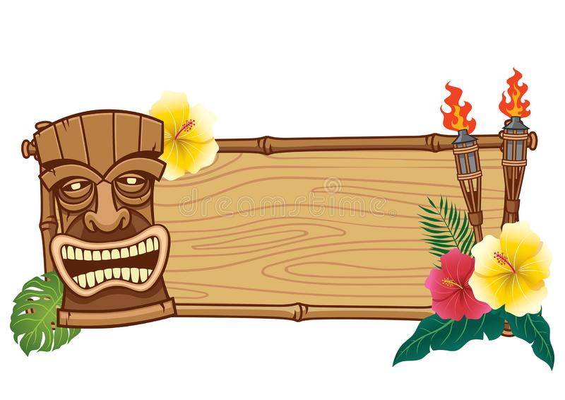 Tiki mask and wooden frame for text. Vector of tiki mask and wooden frame for text stock illustration