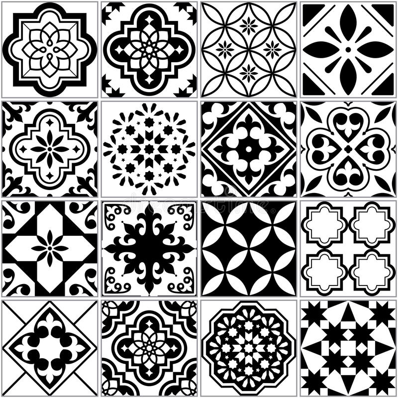 Vector tile pattern, Lisbon floral mosaic, Mediterranean seamless black and white ornament royalty free illustration