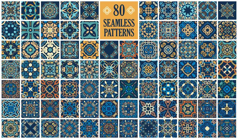 Arabic decorative tiles. Vector tiles patterns. Seamless flourish backgrounds with blue yellow flower elements. Arabic decorative design for floor or wall royalty free illustration