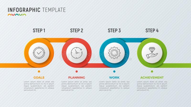 Vector timeline chart infographic design for data visualization. 4 steps, options, processes vector illustration
