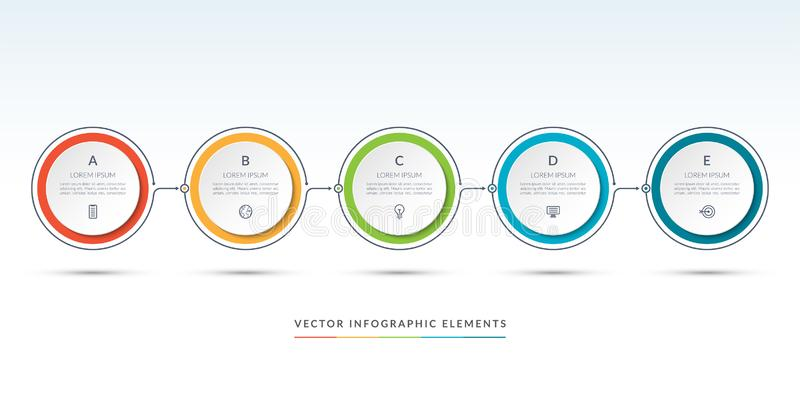 Vector timeline infographic template of 5 circles. Can be used for web design, diagram, step options, chart, graph, business presentation royalty free illustration