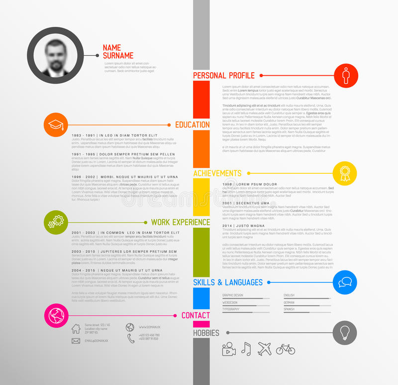 vector timeline minimalist cv    resume template stock vector