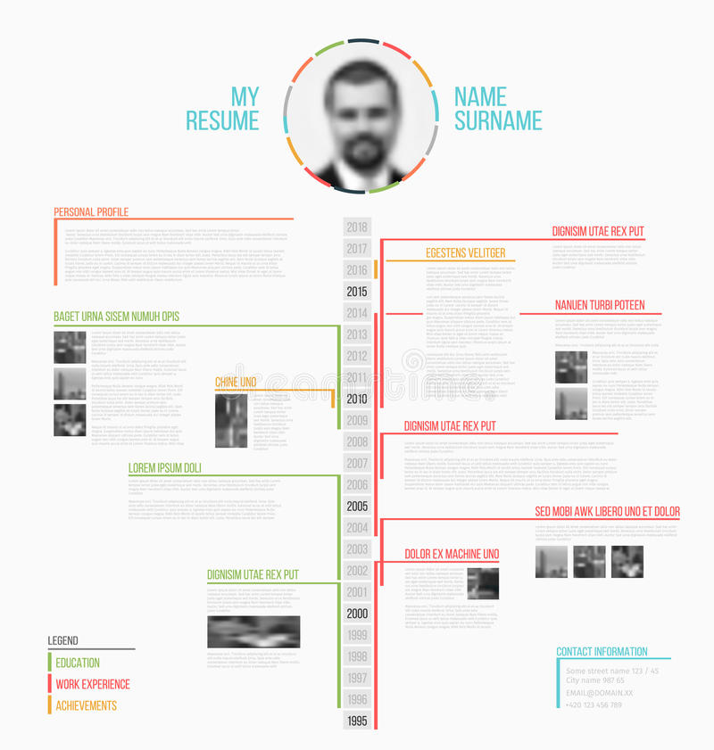 Vector timeline minimalist cv / resume template stock illustration