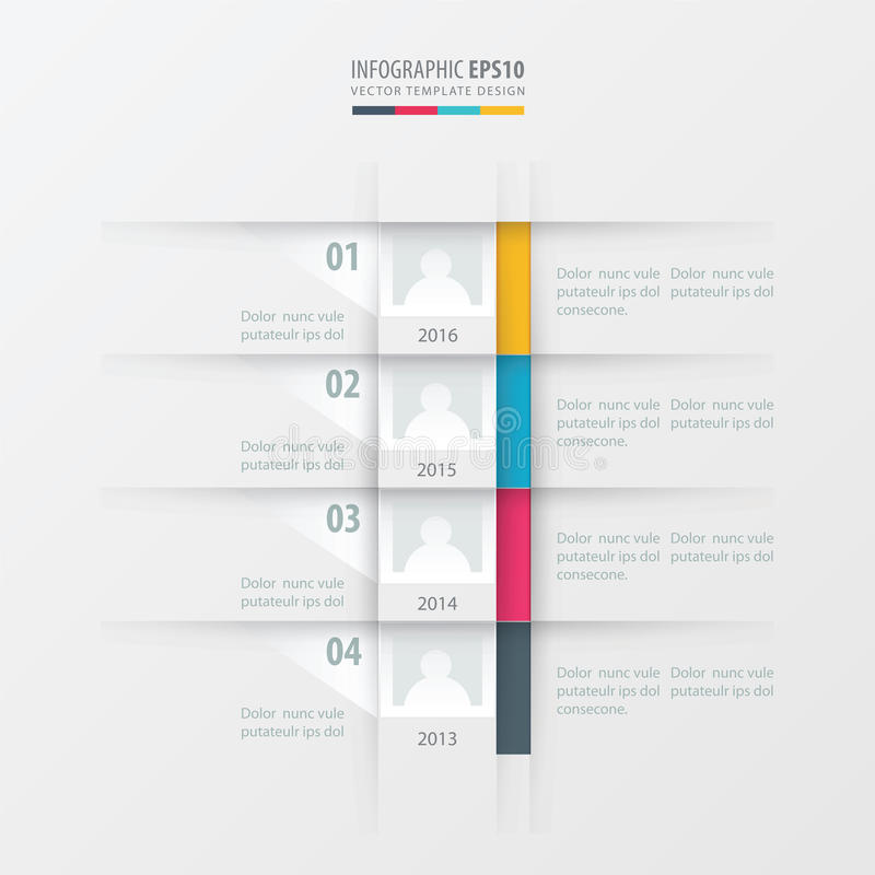 Vector timeline report design template yellow, blue, pink color royalty free stock photography
