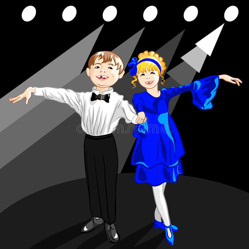 Vector Tiny dancers on the stage. Little boy and girl dressed in clothes stand on a stage in the spotlight and smile vector illustration