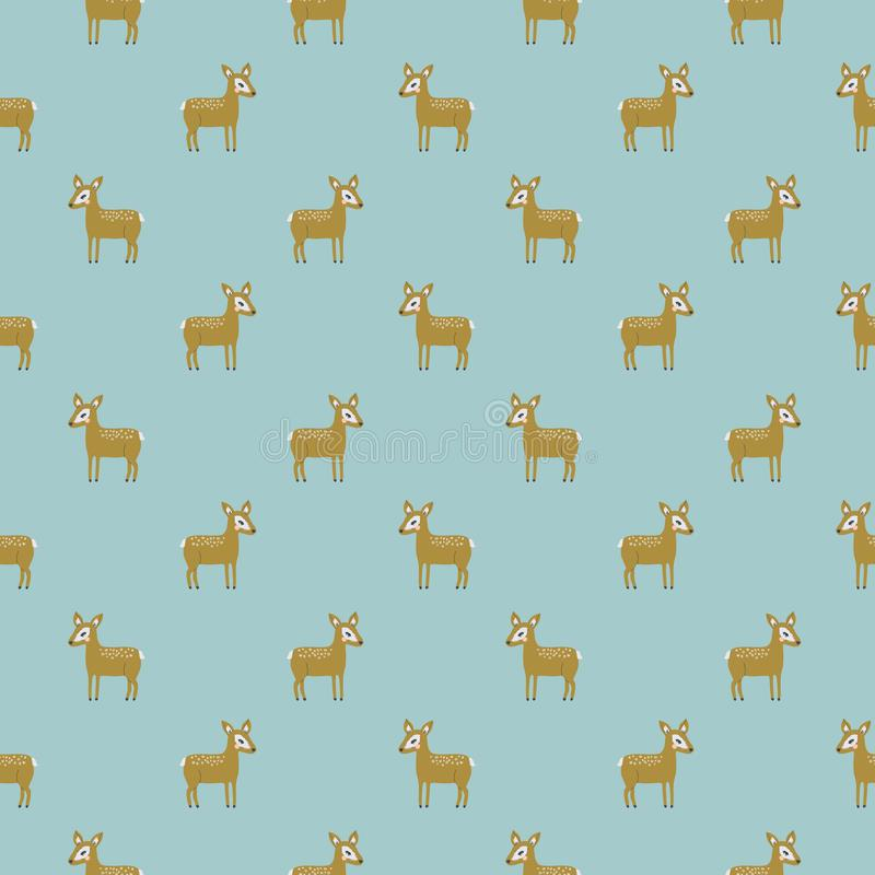 Vector tiny gold deer on blue seamless repeat pattern royalty free illustration