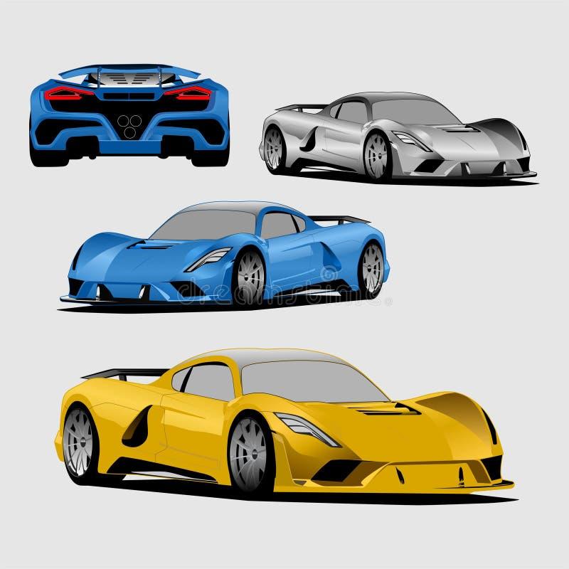Vector a todo color del ejemplo del coche deportivo azul, amarillo y gris stock de ilustración