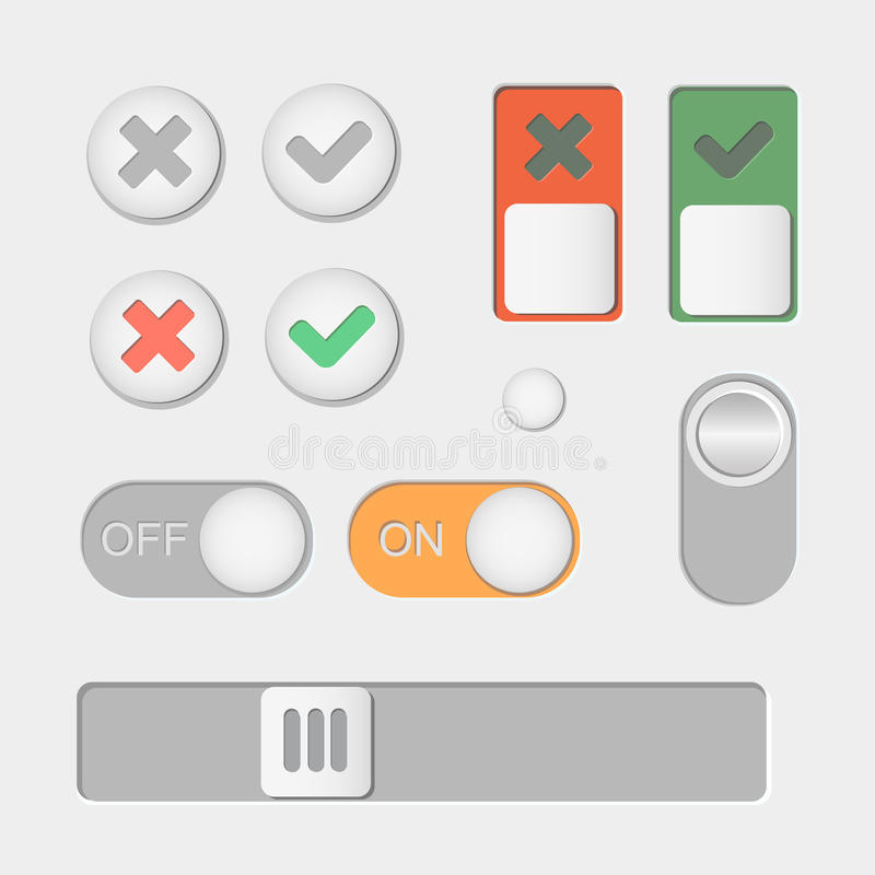 Vector Toggle switch icons. On and Off, Check Mark. Skrollbar vector illustration