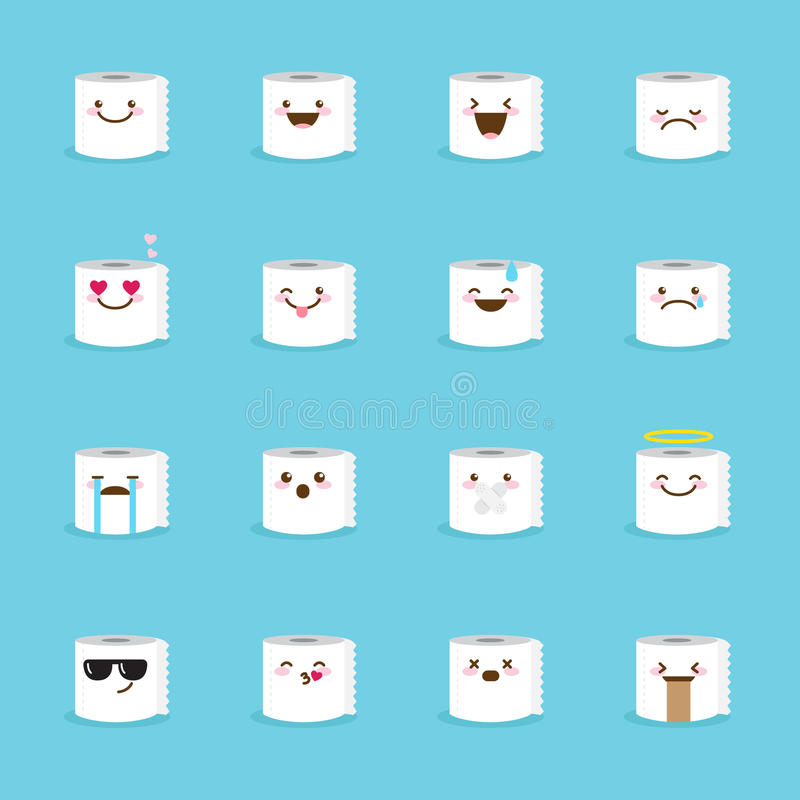 Download Vector Toilet Paper Emoji Set Funny Emoticons Stock