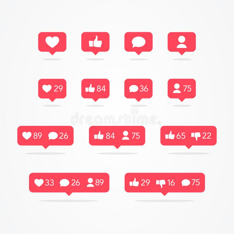 Vector Tooltip Speech Bubble Like, Unlike, Follower, Comment, Notification, Heart, User Icon Set. Social Network Icons Counter Col vector illustration