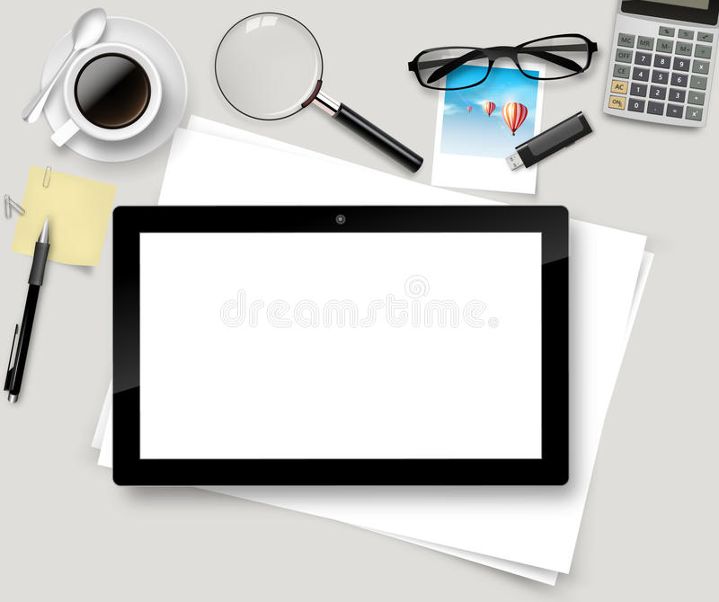 top office table cup. Download Vector Top Office Table With Cup Of Coffee, Papers, Pencil, Tablet. A