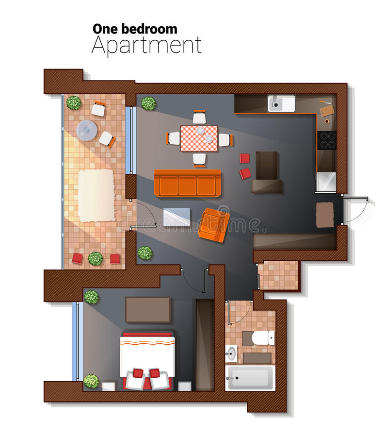 Vector top view illustration of modern one bedroom apartment. Detailed architectural plan of dining room combined with stock illustration