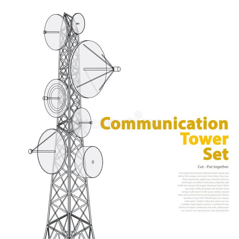 Vector a torre satélite na perspectiva isométrica no fundo branco ilustração stock