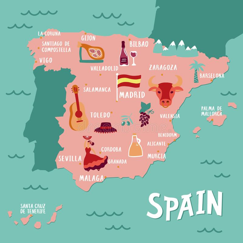 Vector tourist map of Spain. Travel illustration with spanish national atributics. stock illustration