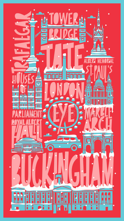 Vector touristic hand drawn london city poster stock illustration