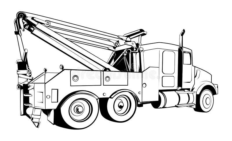 Vector - Tow Truck Outlined Black Vector royalty-vrije illustratie