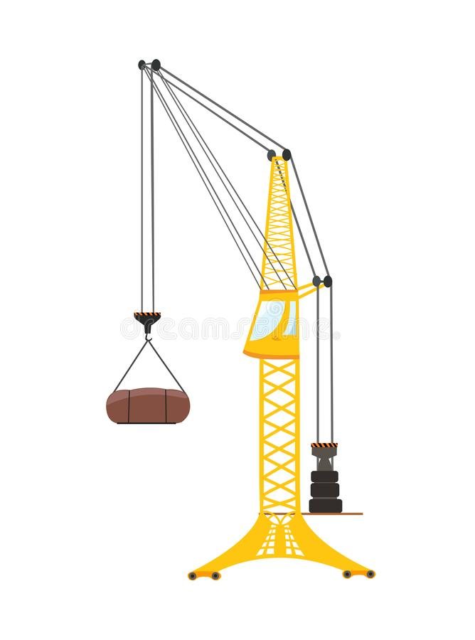 Vector tower crane. Flat illustration isolated. One yellow tower crane. Vector flat illustration isolated on white vector illustration