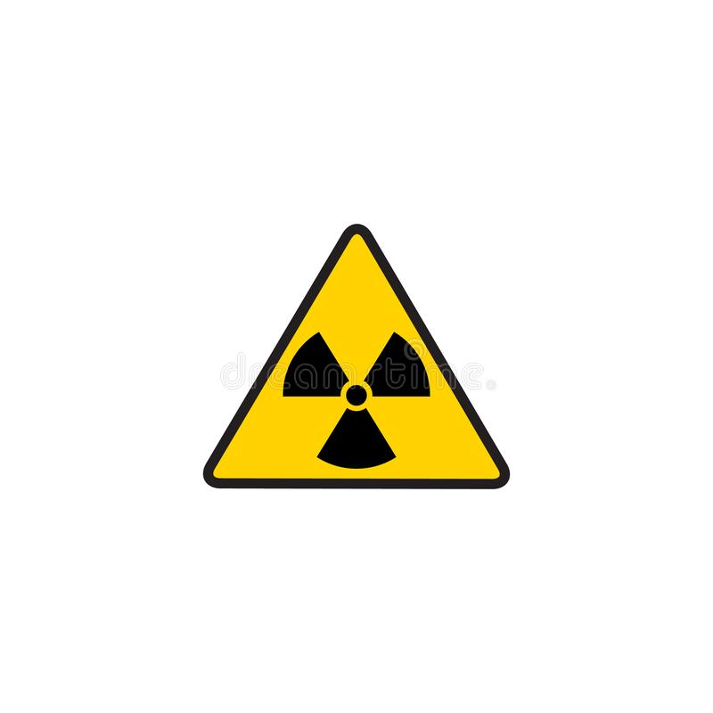 Vector toxic sign, symbol. Warning radioactive zone in triangle icon isolated on white background. Radioactivity vector illustration