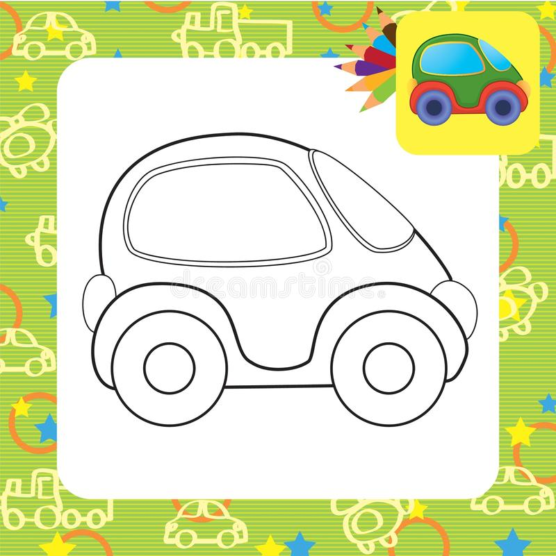 Vector toy car. Coloring page vector illustration
