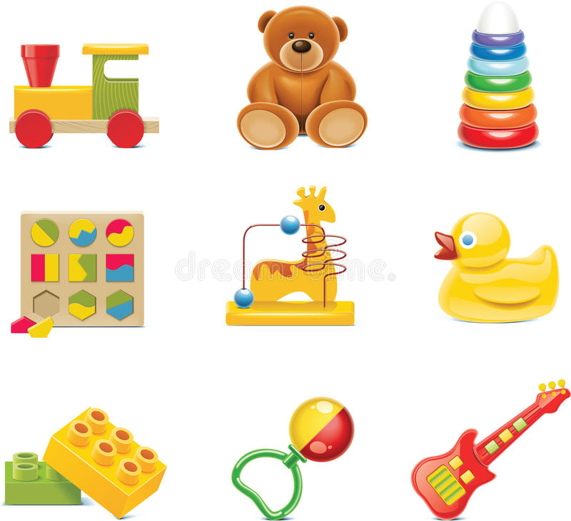 Free Vector Toy Icons. Baby Toys Royalty Free Stock Photography - 14893487