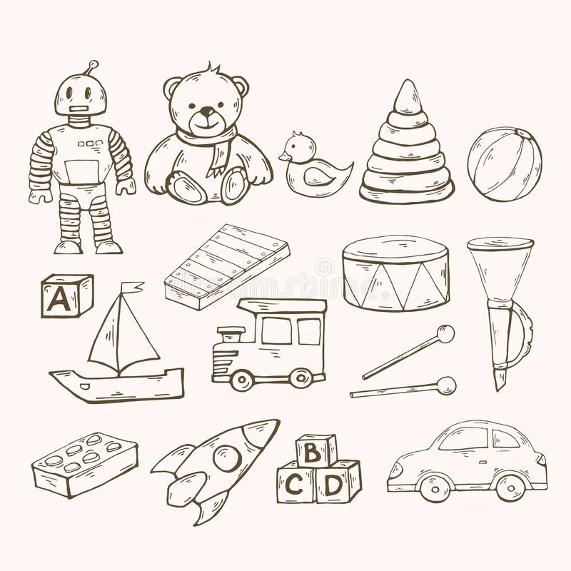 Vector toys set.Children toys collection with robot, duck vector illustration