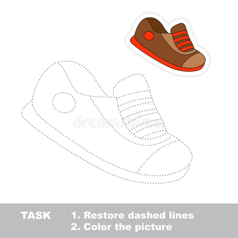 Vector trace game. Boy shoe to be traced. Vector Boy shoe to be traced. Restore dashed line and color the picture vector illustration