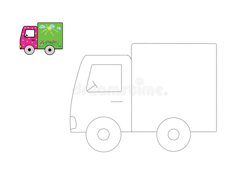Vector trace game. Dot to dot educational game for kids stock photography