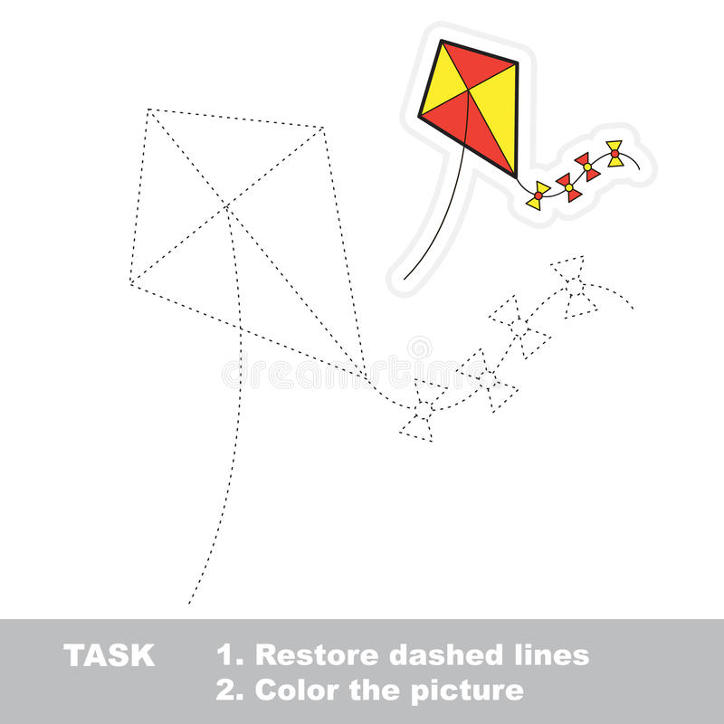 Vector trace game. toy kite to be traced. vector illustration