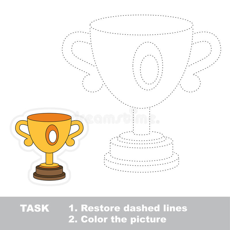 Vector trace game. Winner cup in vector to be traced. Restore dashed line and color the picture. Trace game for children vector illustration