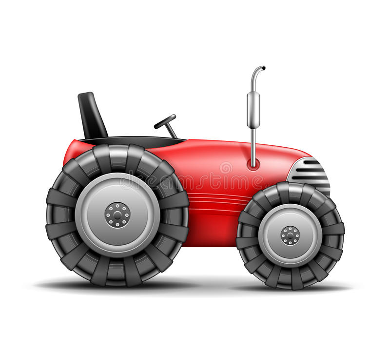 Vector Tractor. Red Tractor icon on white. Vector Illustration stock illustration
