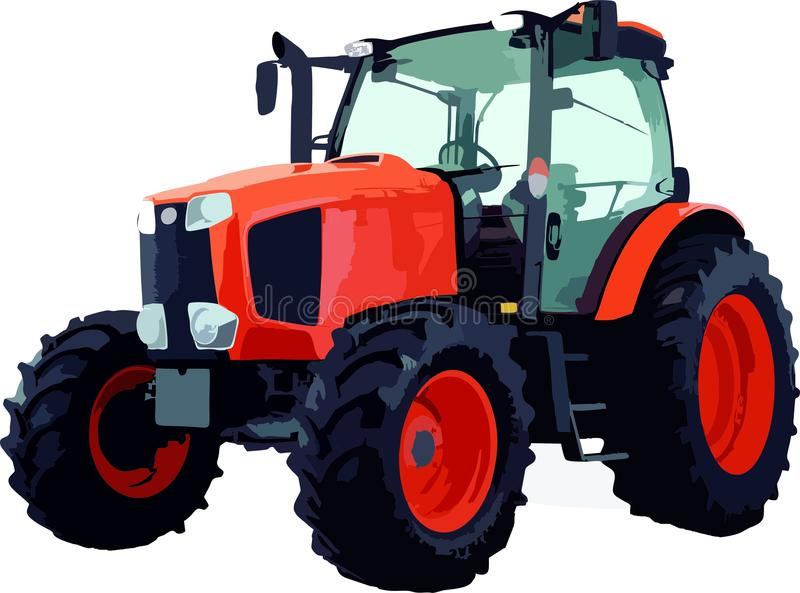 New tractor on white background. New red tractor isolated on white background stock illustration