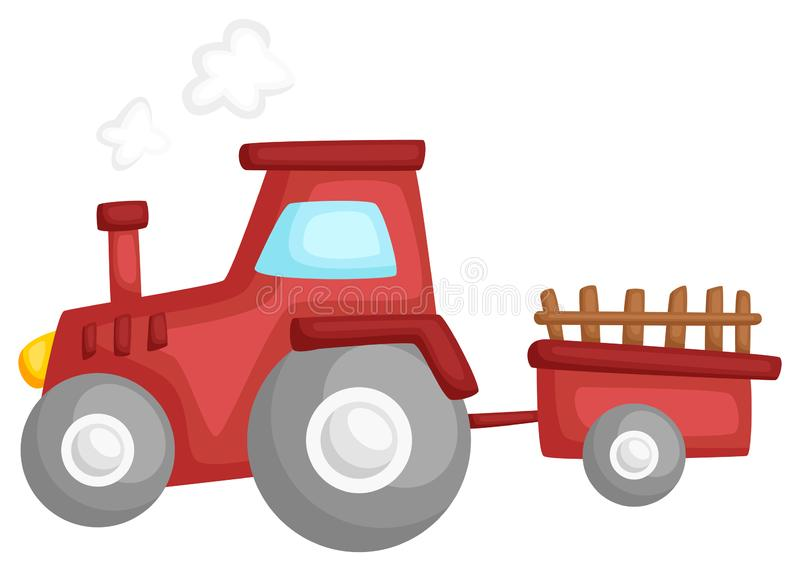A vector of a tractor pulling a cart. Vector of a tractor pulling a cart vector illustration