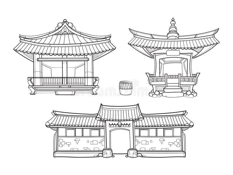 Vector tradicional coreano de la arquitectura de Hanok stock de ilustración
