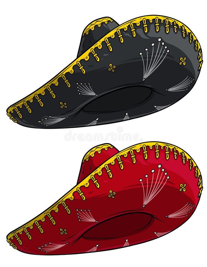 Vector tradicional del sombrero del sombrero mexicano de la historieta stock de ilustración