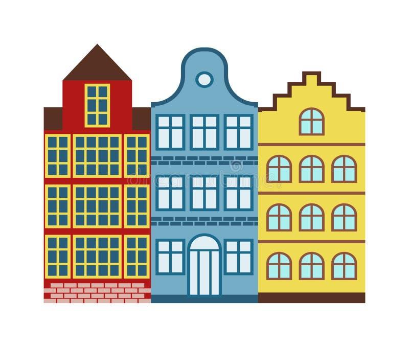 Vector tradicional del viaje de la vieja de los edificios de Amsterdam arquitectura holandesa tradicional de la casa libre illustration