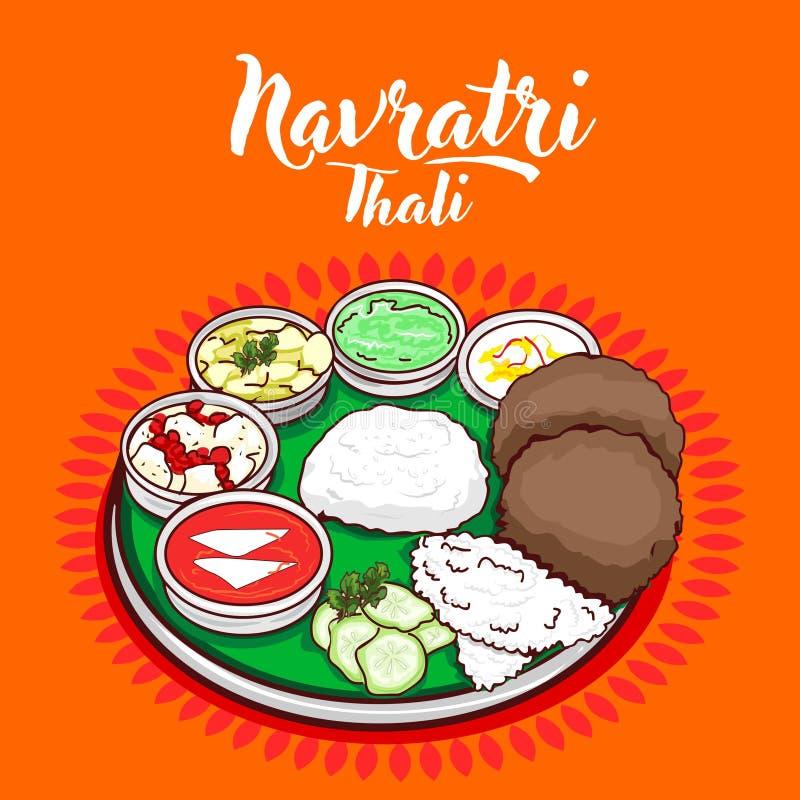 Vector tradicional indio de la comida del thali libre illustration