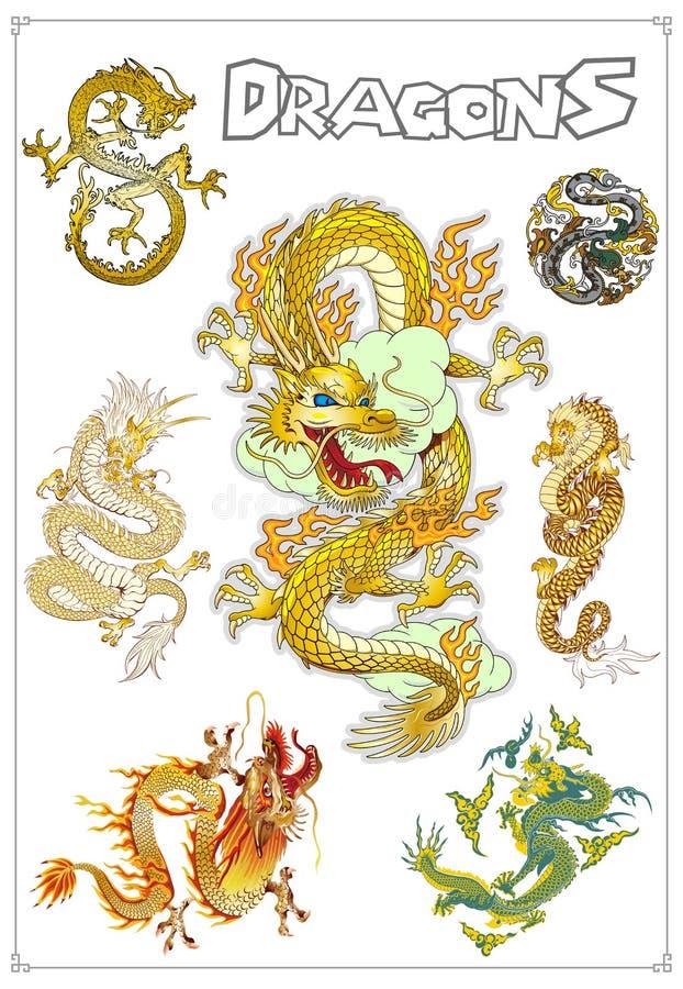 Download Vector Traditional Asian Dragons Stock Vector - Illustration: 37632720