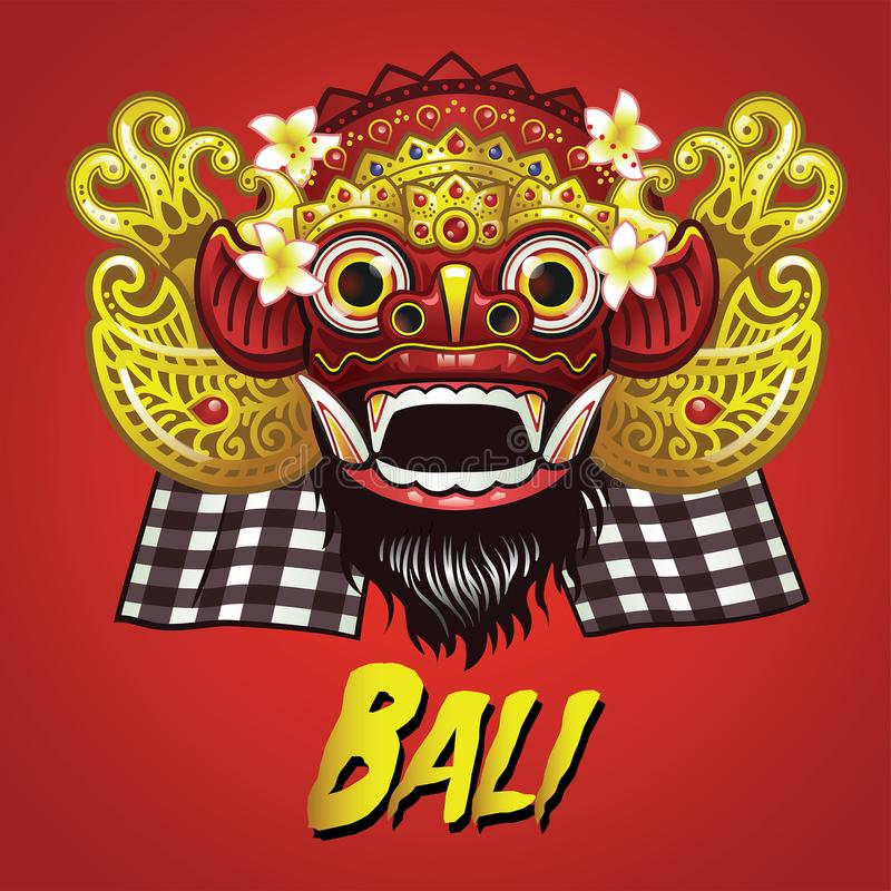 Traditional Balinese Barong Mask stock illustration