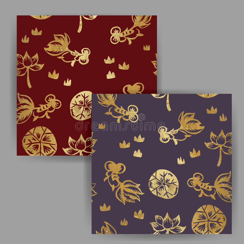 Vector Traditional Chinese Gold Fish Painting Seamless Pattern with Gold Foil Stamp Effect. (Red & Purple royalty free illustration