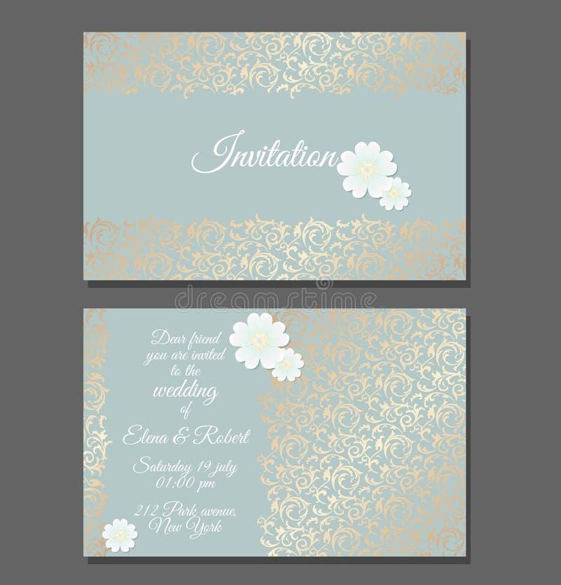 Vintage Wedding Invitation Templates. Cover Design With Golden ...