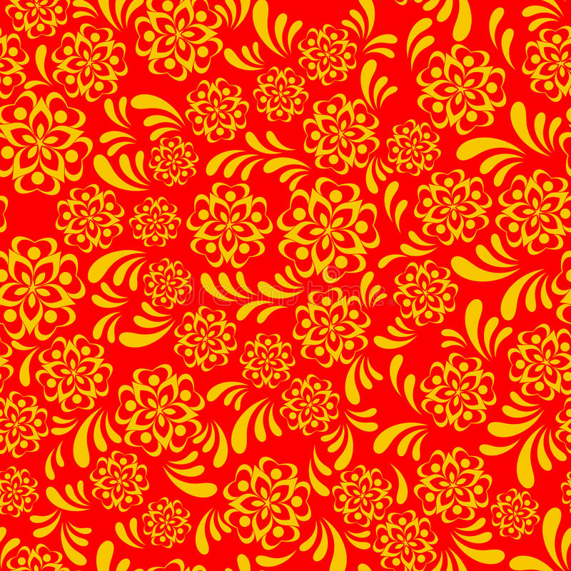 Vector traditional russian folk khokhloma seamless pattern vector illustration