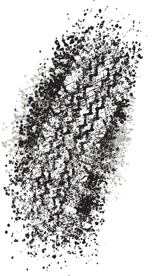 Vector trail design trace of the tyre in grunge style.  royalty free illustration