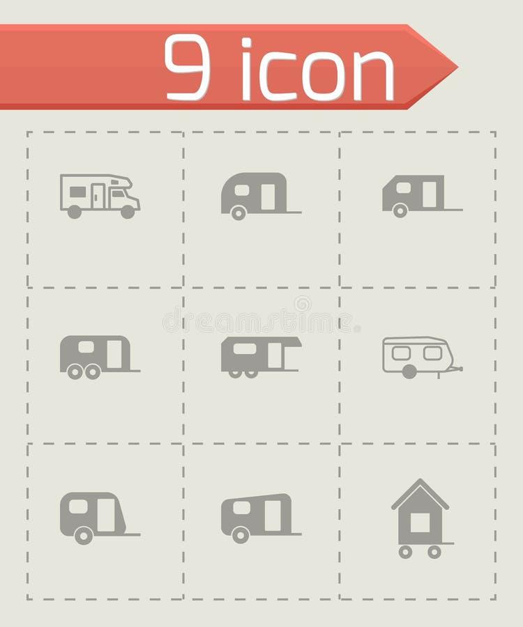 Vector trailer icon set. On grey background stock illustration